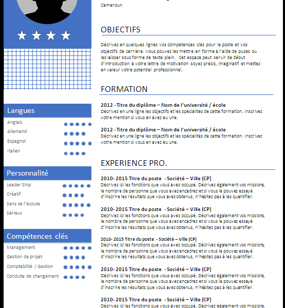 Modèle CV (Curriculum Vitae) Cameroun rédaction service Recherche d'emplois téléchargement