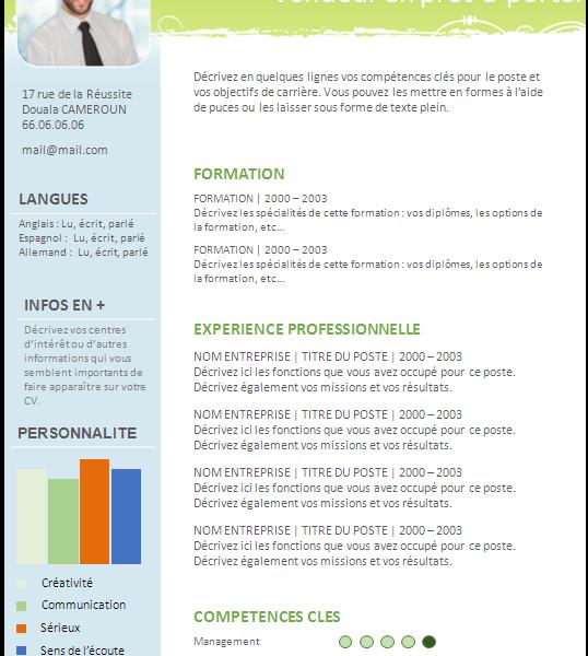 CV (Curriculum Vitae) Modèle à télécharger Cameroun rédaction service Recherche d'emplois