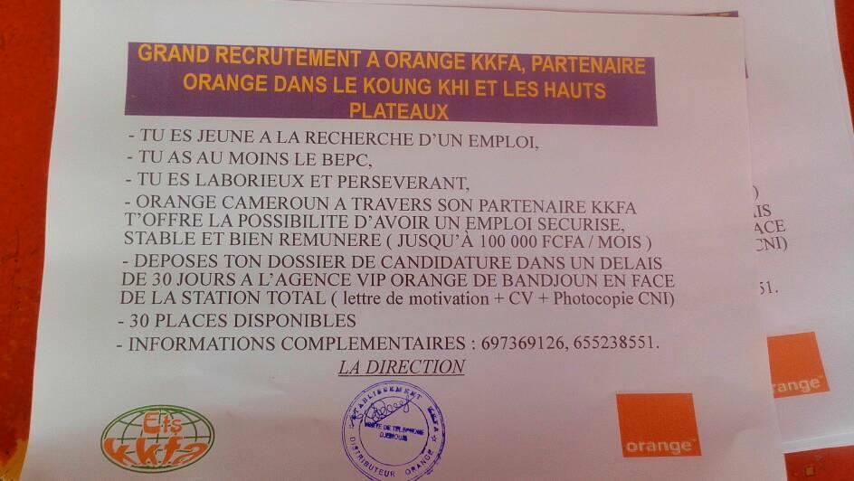 avis de recrutements massifs chez kkfa partenaire orange