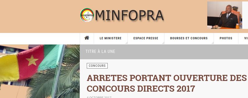 MINFOPRA 2017 CONCOURS RECRUTEMENT