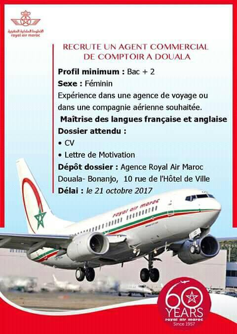 avis de recrutement royal air maroc ram agent commercial de comptoir entreprise de la place. Black Bedroom Furniture Sets. Home Design Ideas
