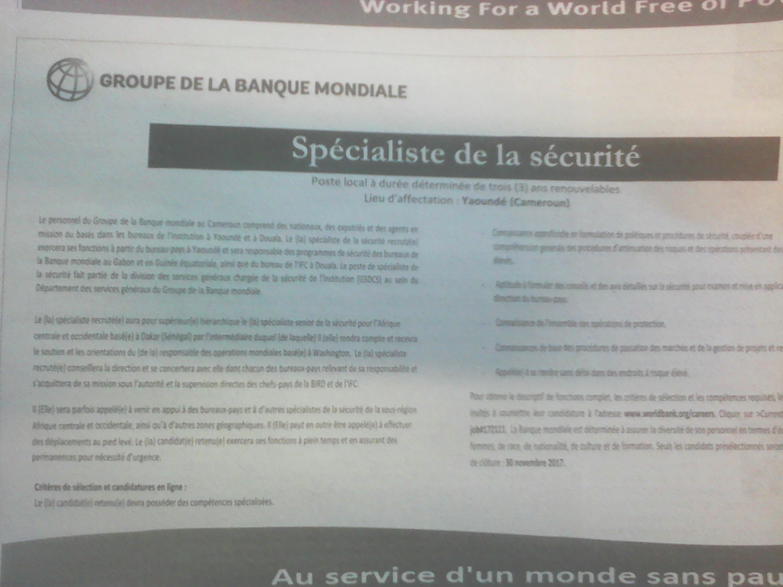 avis de recrutement   sp u00e9cialiste de la s u00e9curit u00e9  u00e0 groupe de la banque mondiale   the world bank