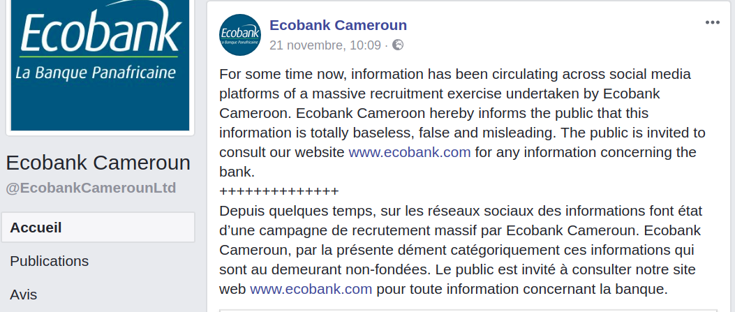AVIS DE RECRUTEMENT EMPLOIS ECOBANK CAMEROUN