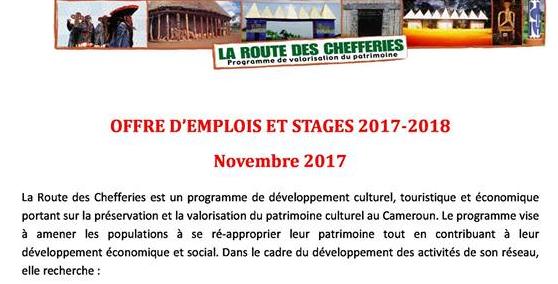 LA ROUTE DES CHEFFERIES : OFFRES D'EMPLOIS ET STAGES 2017 - 2018