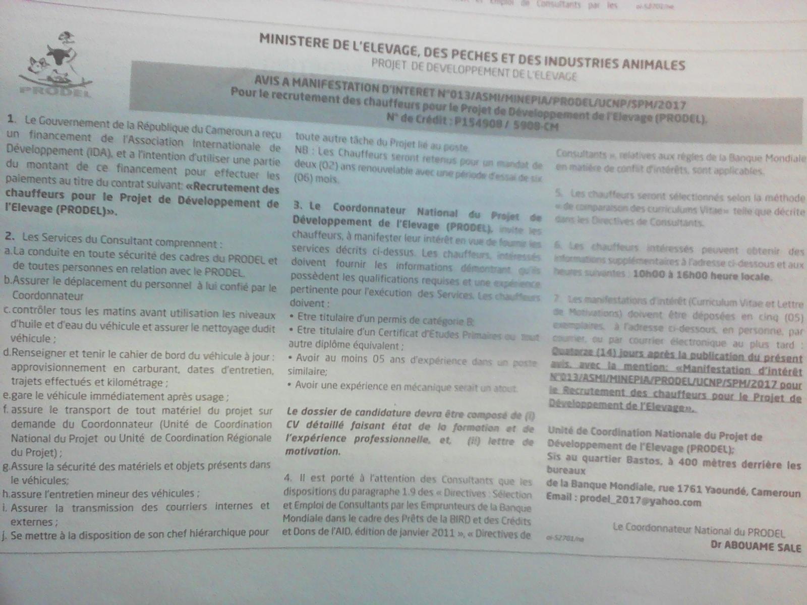 Recrutement des Chauffeurs pour le Projet de développement de l'élevage (PRODEL)