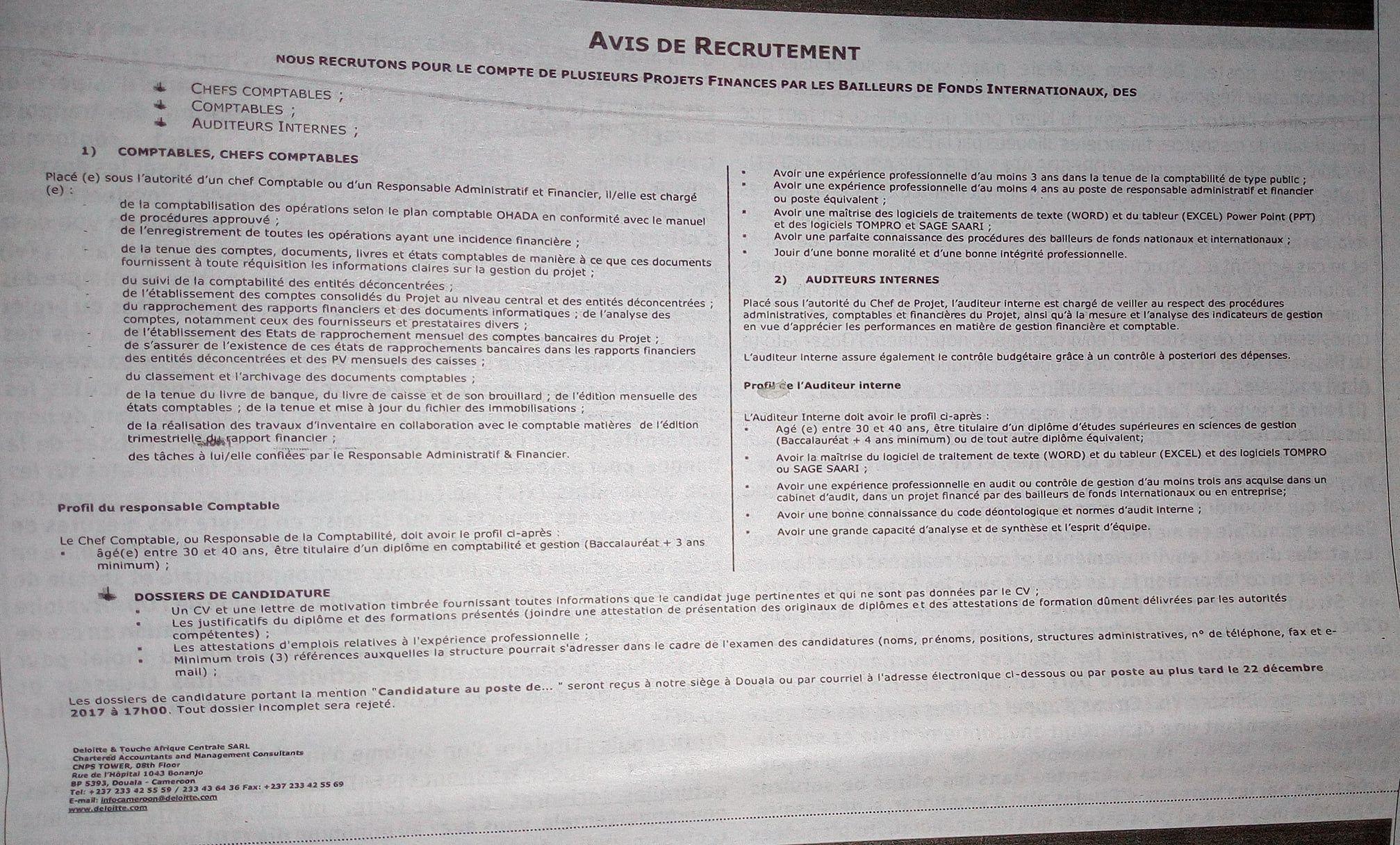 avis de recrutements massifs   comptables  chefs comptables  auditeurs internes  u00e0 deloitte