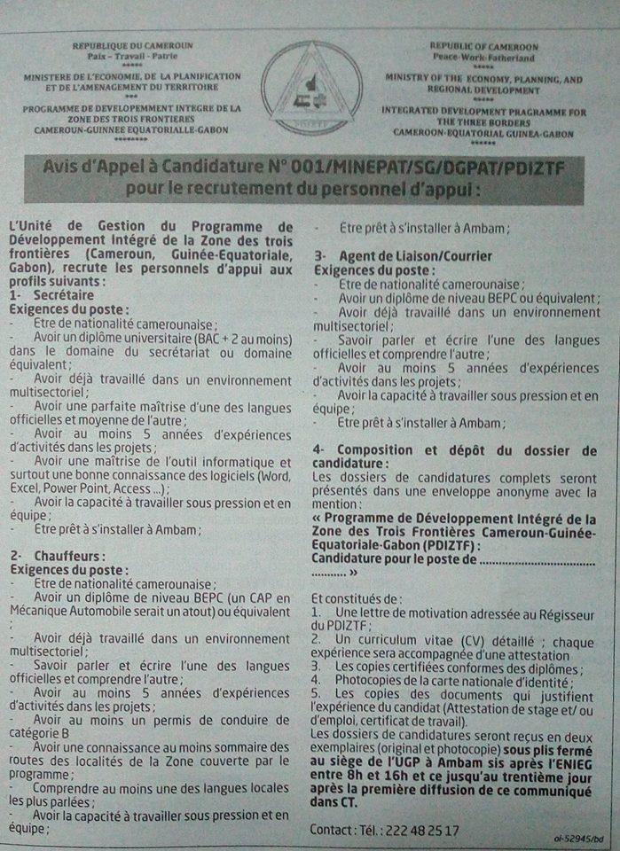 PROGRAMME DE DÉVELOPPEMENT DE LA ZONE DES TROIS FRONTIÈRES CAMEROUN