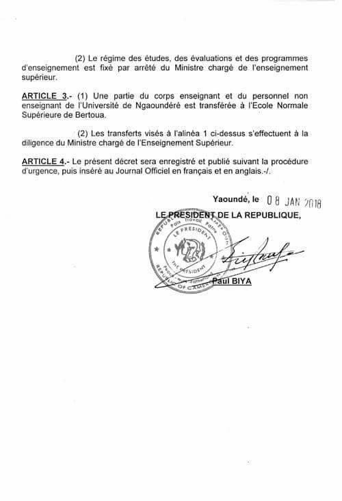 Décret portant création de l'ENS (École normale supérieure) de Bertoua.