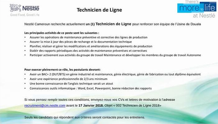 avis de recrutement   technicien de ligne
