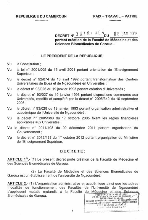 Décret portant création de la FMSB de Garoua - Faculté de Médecine et des Sciences Biomédicales