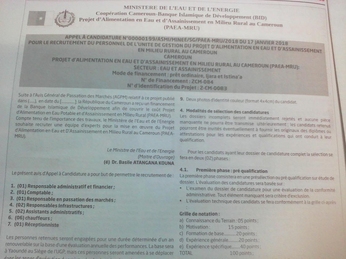 avis de recrutement   14 personnels du projet paea  u2013 mru minee