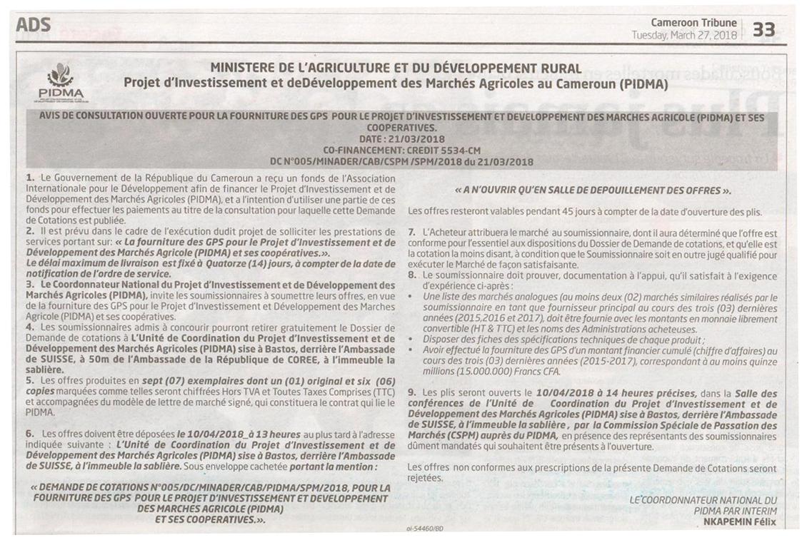 Avis de consultation ouverte pour la fourniture des GPS pour le PIDMA et ses coopératives - Projet d'Investissement et de Développement des Marchés Agricoles