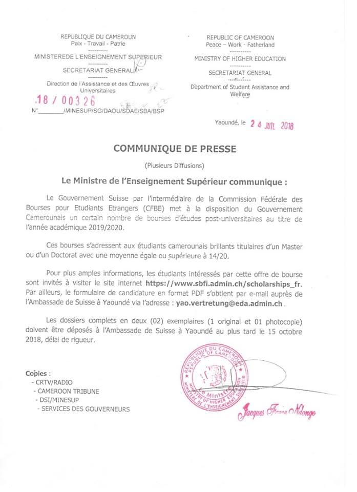 Bourses D Etudes 2018 2019 Du Gouvernement Suisse Commission