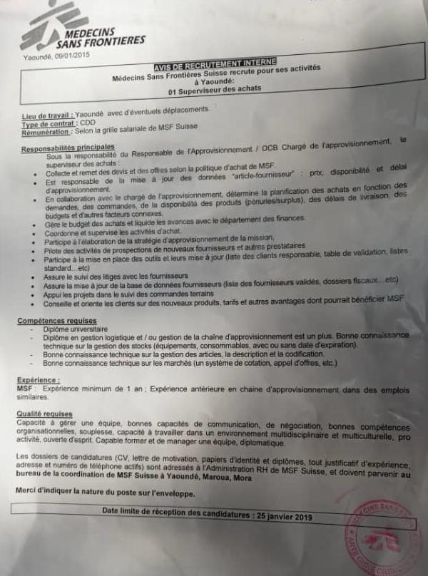 avis de recrutement   01 superviseur des achats  u00e0 msf