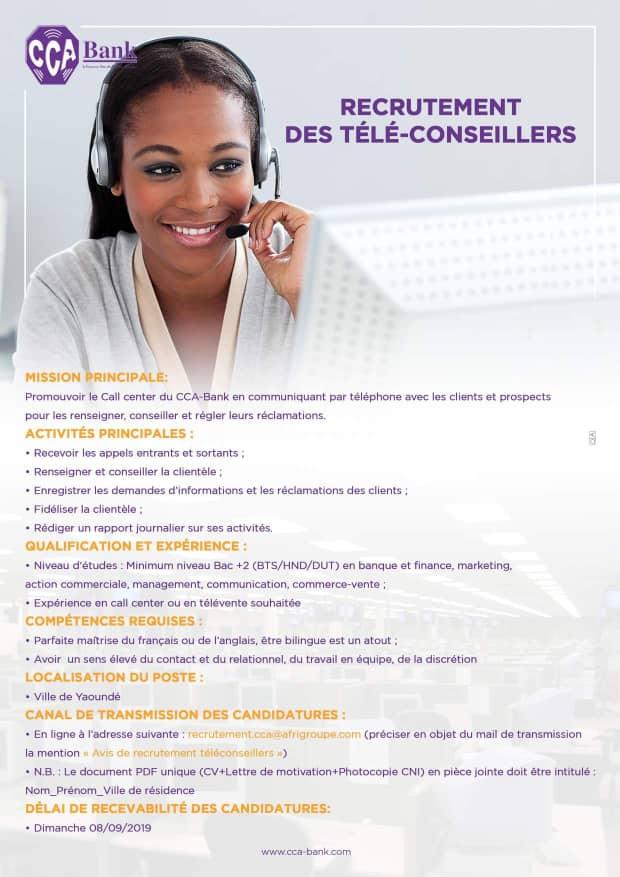 avis de recrutement des t u00e9l u00e9conseillers de call centers bancaires  u00e0 cca
