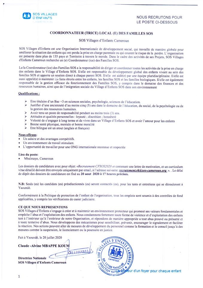 EMPLOIS SOS Cameroun