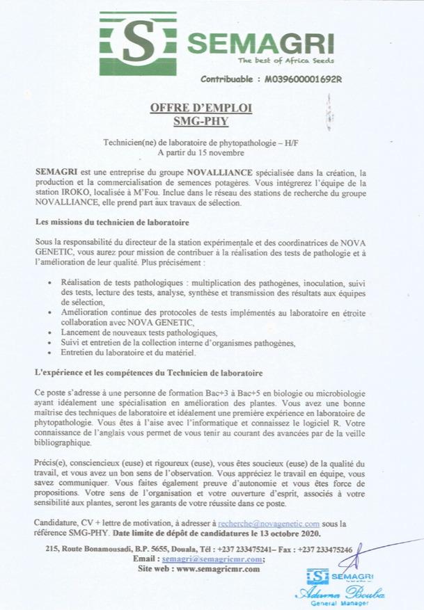 OFFRE D'EMPLOI : Technicien de Laboratoire - SEMAGRI